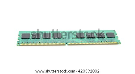 RAM module for the personal computer on a white background - stock photo