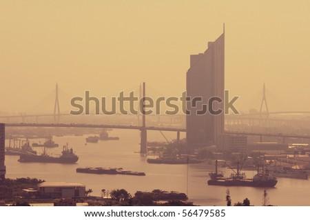 Rama 9 Bridge at Chaopraya river, Bangkok Thailand - stock photo