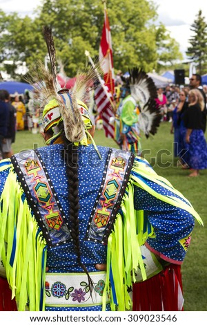 RAMA, ONTARIO/CANADA - AUGUST 23, 2015:  30th Annual Chippewas of Rama First Nation Powwow. - stock photo