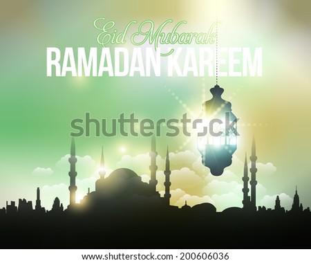 "Ramadan Kareem - Islamic Holy Nights Theme Design - Arabic ""Eid Mubarak"", ""be Blessed"" at English - stock photo"