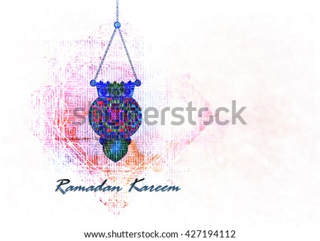 Ramadan Kareem - islamic muslim holiday background or greeting card, with ornamental arabic oriental background, with eid holiday fanous lanterns, abstract artistic vintage textured style