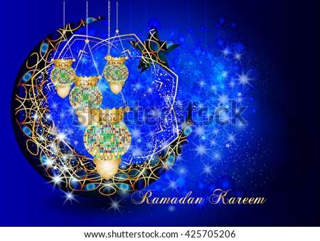 Ramadan Kareem - muslim islamic holiday colorful eid fanous lanterns hanging with decorations, on stars and sparkles dark night background. Eid Al-Fitr festival. - stock photo