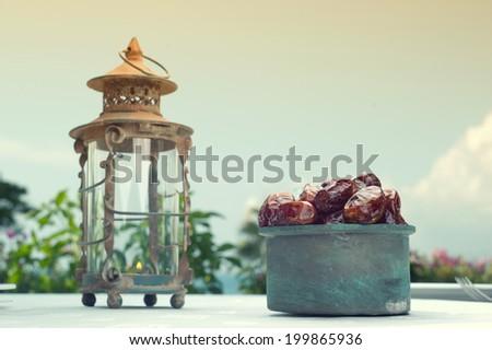 Ramadan Lamp and dates fruit still life  - stock photo