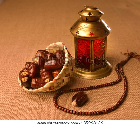 Ramadan lamp and dates still life - stock photo