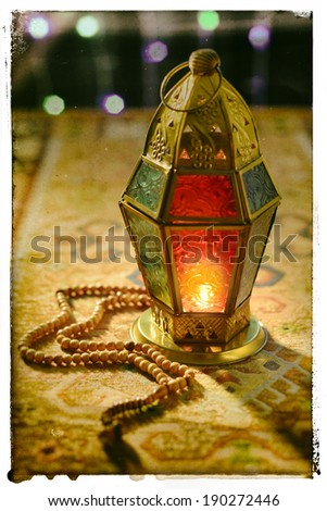 Ramadan lantern and rosary - old photo effect - stock photo