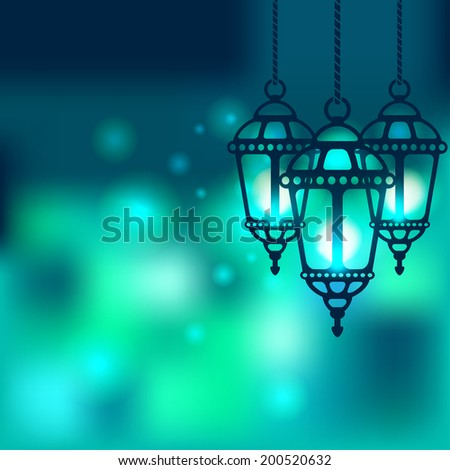 Ramadan lantern shiny background - stock photo