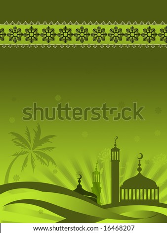 Ramadan related background image with islamic border at top and mosque silhouette with palm trees and flowers scattered