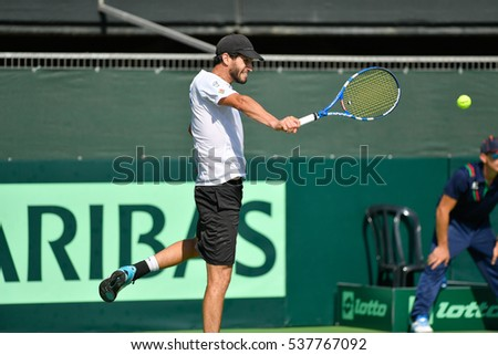 Ramat HaSharon, ISRAEL - October 28-30, 2016 Davis Cup match: Israel vs Sweden. Amir Weintraub (Israel) during the match against Elias Ymer (Sweden) at Canada Stadium in Ramat HaSharon Tennis Center
