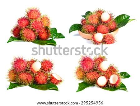 rambutan fruit isolated on white background - stock photo