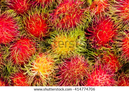 rambutan sweet delicious fruit.background of fresh Thai rambutans. - stock photo