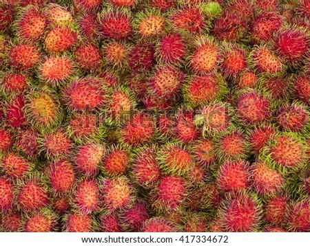 rambutan sweet delicious fruit in the market.Thai rambutans. rambutan pattern - stock photo