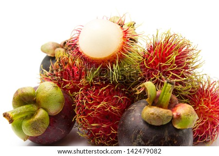 rambutan with mangosteen fresh fruit