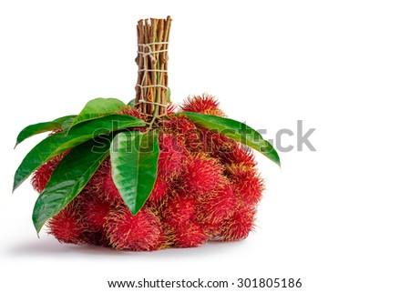 Rambutans fruit with leaf on white background. - stock photo