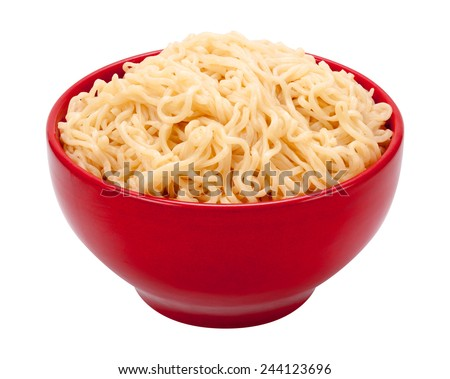 Ramen Noodles in a Red Bowl. Isolated on white with a clipping path. The image is in full focus, front to back. - stock photo