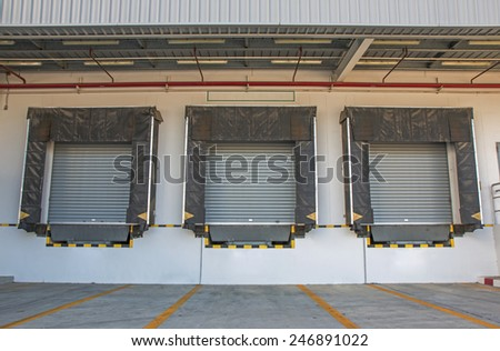 Ramp of the logistic warehouse - stock photo