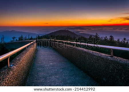 Ramp to the  Clingman's Dome Observation Tower at sunset, in Great Smoky Mountains National Park, Tennessee. - stock photo