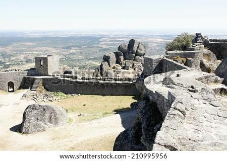 Rampart of Monsanto castle, Portugal - stock photo