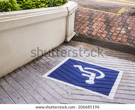 Ramps for disabled, using wheelchair ramp. - stock photo