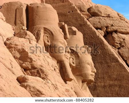 Ramses II statues and temple at Abu Simbel Egypt - stock photo