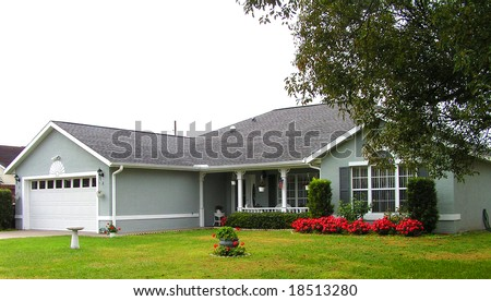 ranch home in Florida with nice landscaping - stock photo
