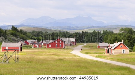 ranch in scenic setting - stock photo