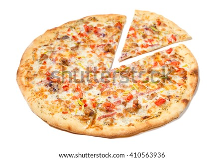 Ranch pizza isolated on white background