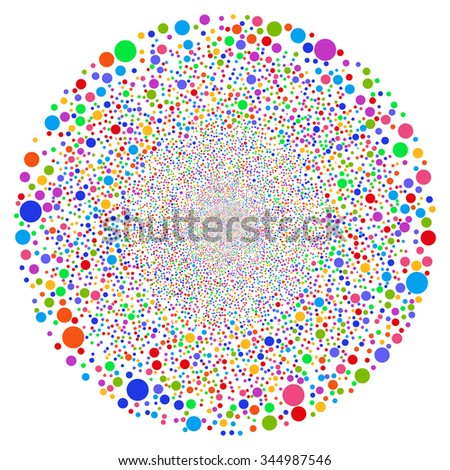 Random Circle Sphere glyph illustration. Style is bright multicolored flat circles, white background.
