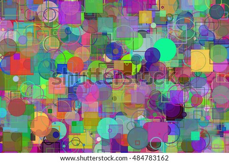 Random circle, square & rectangles shape, digital generative art for design texture & background