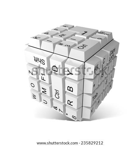 Random keyboard keys forming a cube - stock photo