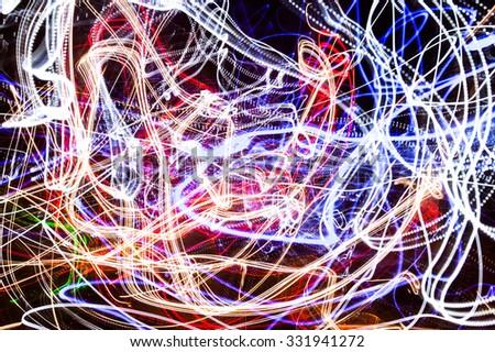 random light-trail motion blur fireball - stock photo