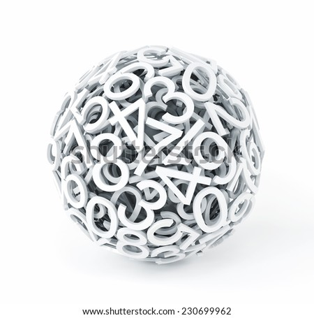 Random numbers forming a sphere - stock photo