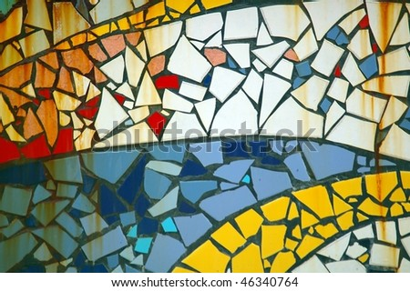 random patch of mosaic tiles for background texture - stock photo