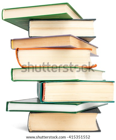 Random textbook tower. Isolated on white background - stock photo