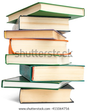 Randomly placed books. Isolated on white background - stock photo