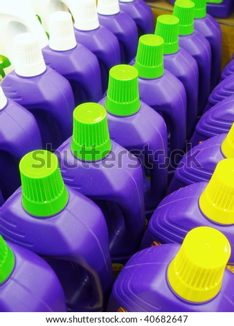 Range of cleaning liquid detergents. - stock photo
