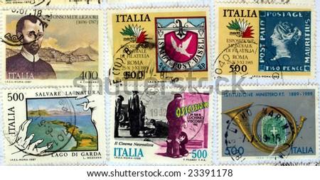 Range of Italian postage stamps - stock photo