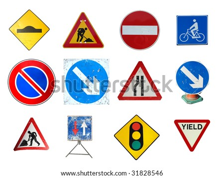 Range of traffic signs isolated including bump ramp, road works, no entry, bike lane, no parking, arrow, traffic light, yield give way