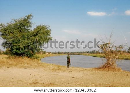 Ranger at North Lwanga National Park (Zambia) - stock photo