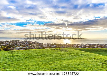 Rangitoto island and Hauraki gulf at dawn. Auckland, New Zealand. - stock photo