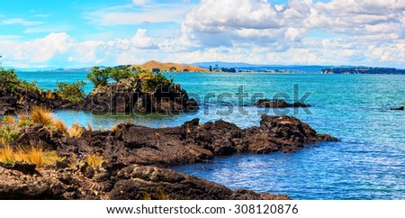 Rangitoto Island, district of Auckland City. New Zealand. - stock photo