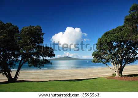Rangitoto island through the trees, Auckland, New Zealand - stock photo