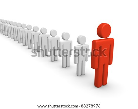 Rank of 3d men with leader - stock photo