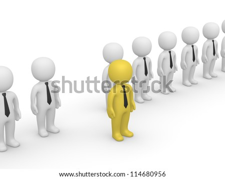 Rank of 3d people with one standing out. Third frame of simple animation. - stock photo