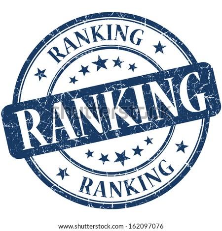 Ranking grunge blue round stamp - stock photo