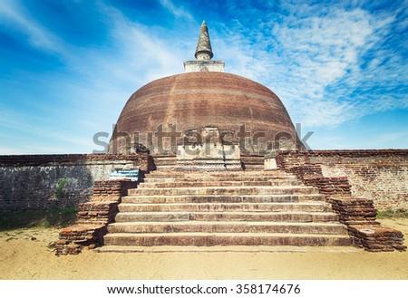 Rankoth Vehera in the world heritage city Polonnaruwa, Sri Lanka.  - stock photo