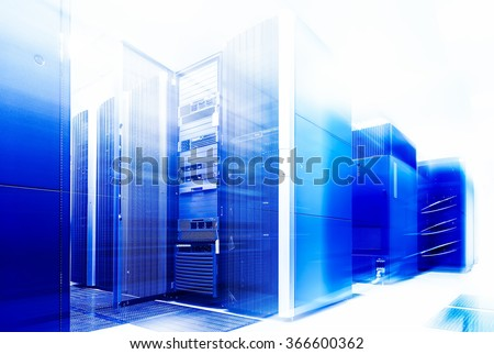 ranks modern supercomputers in computational data center with motion - stock photo