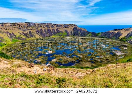 Rano Kau volcano, Easter island, Chile, South America - stock photo
