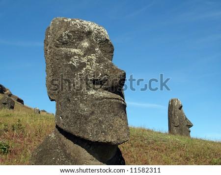 Rano Raraku, Easter Island - stock photo