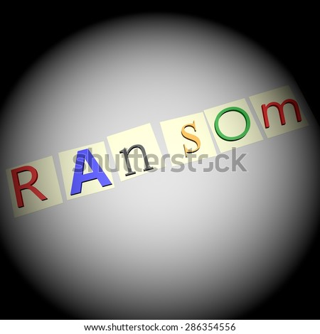 Ransom writing, written with kidnapping letters, over white sheet, 3d render, square image - stock photo