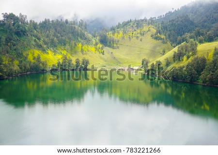 Ranu Kumbolo lake at tengger semeru bromo from highland view